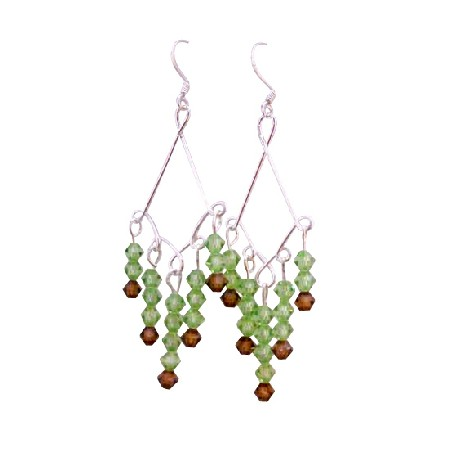 Peridot Swarovski Crystal w/ Smoked Topaz Sterling Silver 925 Earrings