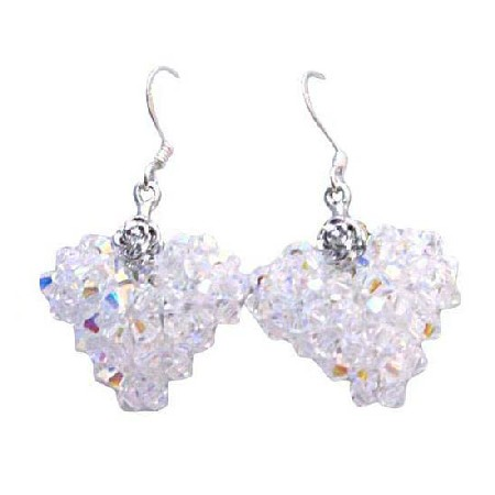 Handmade Romantic AB Swarovski Crystals Puffy Heart Unique Earrings