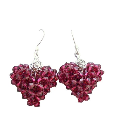 Ruby Sexy Swarovski Crystal Puffy Heart Valentine Earrings
