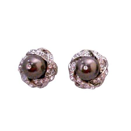 Swarovski Brown Pearl Surrounded w/ Cubic Zircon Pierced Stud Earrings