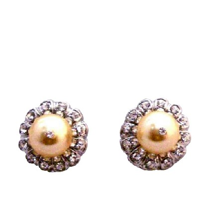 Gold Swarovski Pearl Surrounded w/ Cubic Zircon Piearced Earrings