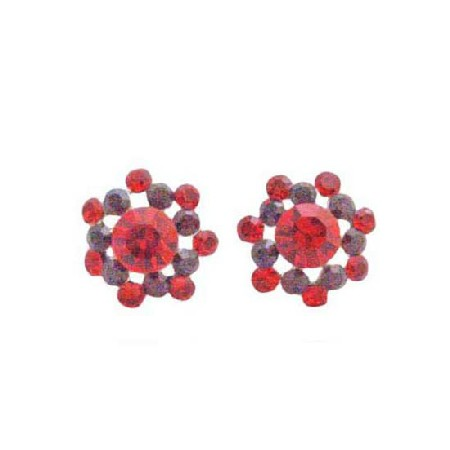 Light & Dark Siam Red Crystals Surgical Post Bridal Party Earrings
