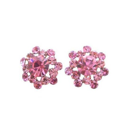 Sparkling Rose Crystals Beautiful Pink Crystal Surgical Post Earrings