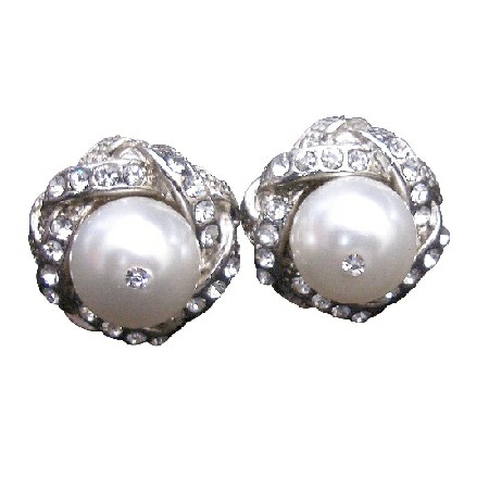 Pure White Swarovski Pearl Simulated Diamond CZ Pierced Stud Earrings