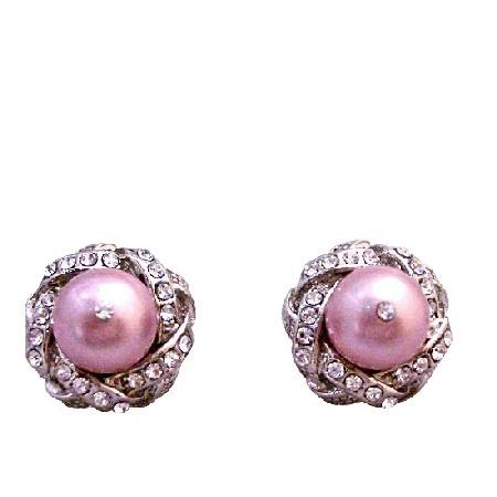 Swarovski Powder Rose Pearl Surrounded Cubic Zircon Stud Post Earrings