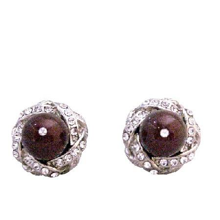 Maroon Swarovski Pearl Cubic Zircon Stud Post Prom Earrings