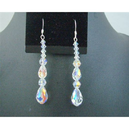 Pear Teardrop Round Swarovski AB Crystal Sterling Silver Earrings