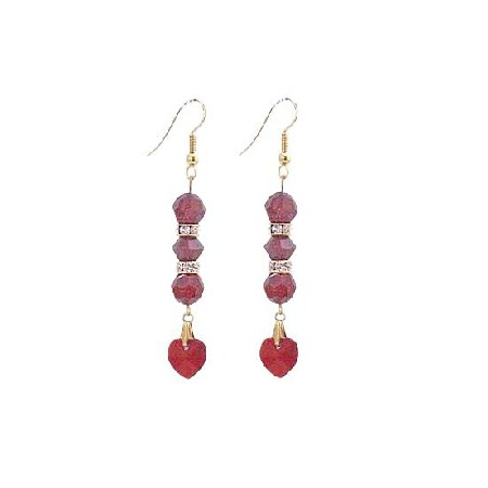 Siam Red Crystal with Heart Dangling Golden Hook & Rondells Earrings