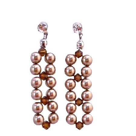 Interwoven Swarovski Bronze Pearls Smoked Topaz Crystals Post Earrings