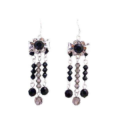 Jet Crystal Black Diamond Crystals Dangling 3 Stranded Silver Earrings