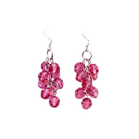 Fashionable Rose Crystal Delicate Earrings Grape Bunch 92.5 Earrings