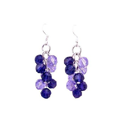 Violet & Tanzanite Round Crystals Swarovski Bead Grape Bunch Earrings
