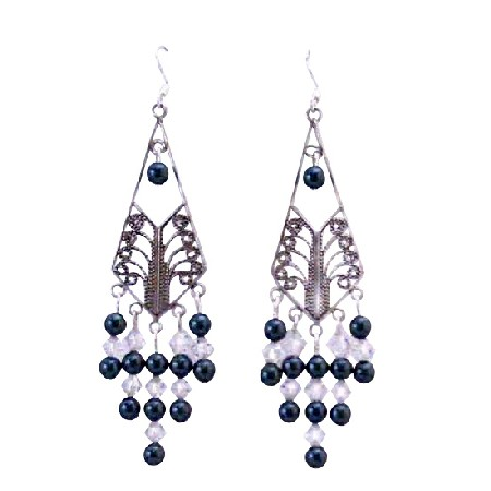 Tahitian Pearls 4mm Clear Crystals Austrian Chandelier Silver Earrings