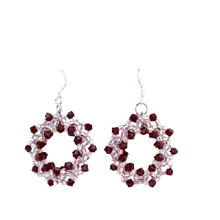 Siam Red Passion Crystals Hoop Earrings Japanese Glass Beads Earrings