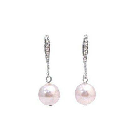 Rose Swarovski Pearl Dangling Hook Embedded Simulated Diamond Earrings