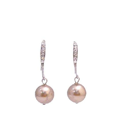 Cute Earrings Swarovski Bronze Pearl Dangling Diamante Hook Earrings