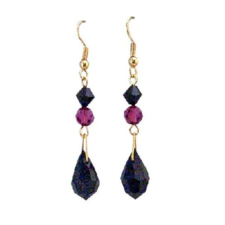 Fuchsia & Jet Crystal Teardrop Combo Dangling Golden Hook Earrings