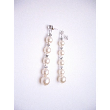 Comet Swarovski Crystals with Ivory Pearl Sterling Silver Earrings