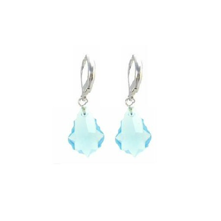Baroque Aquamarine Swarovski Crystal In Sterling Silver 92.5 Earrings