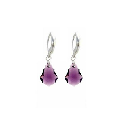 Sterling 92.5 Hoop Secure Lever Back Baroque Amethyst Crystal Earrings