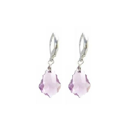 Lite Amethyst Baroque Swarovski Crystal Sterling Earrings