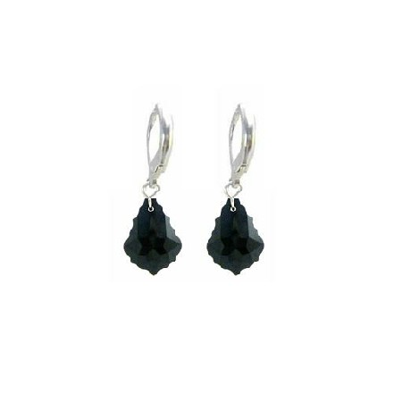 Classy Stylish Jet Black Baroque Crystals Sterling 92.5 Earrings