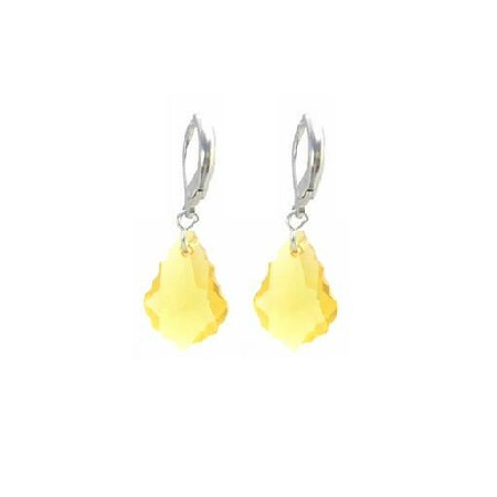 Swarovski Lite Topaz Yellow Baroque Crystal Sterling Leverback Earring