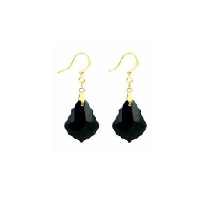 Swarovski Jet Baroque Crystal 22k Gold Plated Hook Earrings