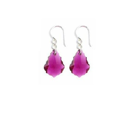 Swarovski Ruby Baroque Crystal 92.5 Sterling Hook Earrings