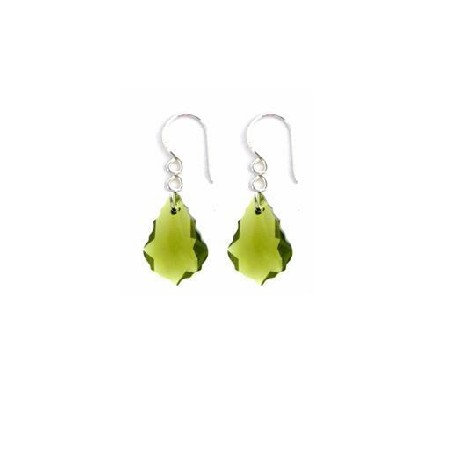 Baroque Crystal Swarovski Peridot Crystal Sterling 92.5 Hook Earrings