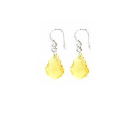 Yellow Dress Matching Jewelry Baroque Lite Smoked Crystal Earrings