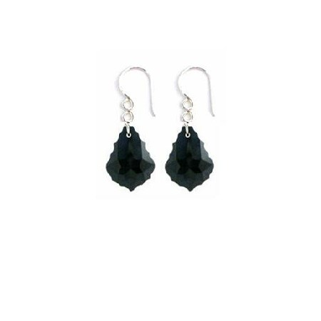 FashionJewelryForEveryone.com ERC635 Baroque Crystal Earrings Sterling 92.5 Black Jet Crystal Earrings