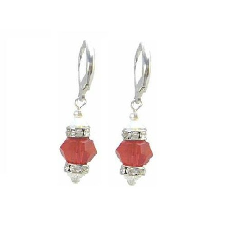 Under $10 Jewelry Lite Siam Red Crystals w/ Diamond Spaacer