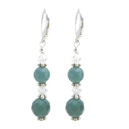 Multifaceted 10mm Jade Glass Beads Stone w/ AB Crystals Earrings