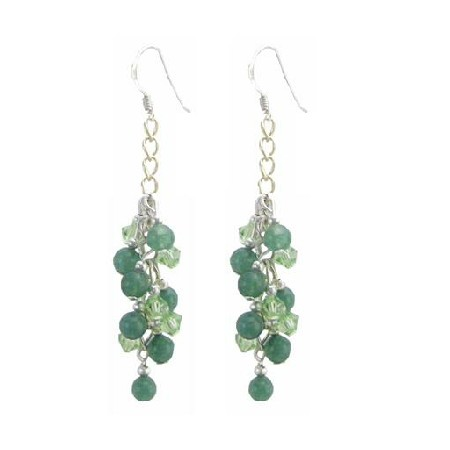 Peridot Crystals & Jade Stone Silver Hook Affordable Earring