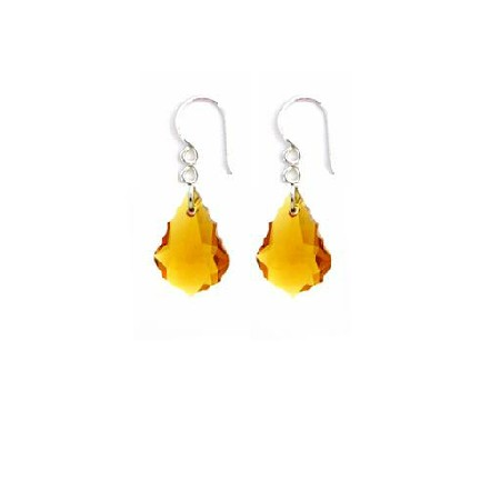 Swarovski Topaz Baroque Crystal Earrings Match Yellow Dress