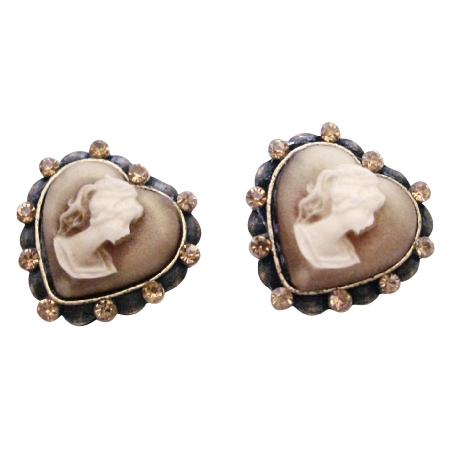 Earrings For Your Mother Sparkling Crystal Cameo Earrings