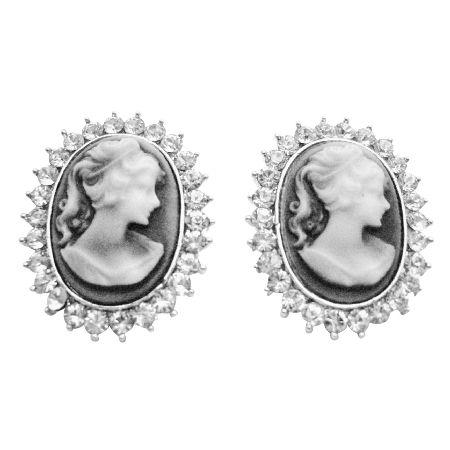 Great Deal On Antique Vintage Cameo Earrings w/ Sparkling Diamante