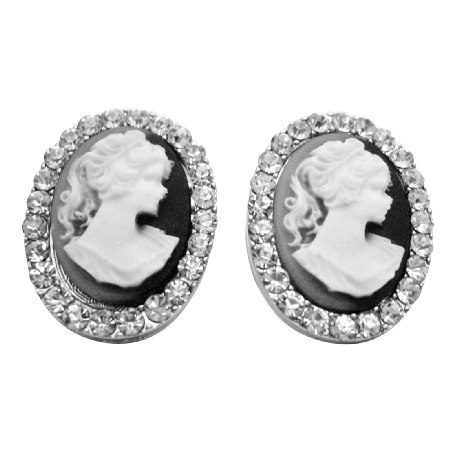 Great Value Antique Cameo Earrings Fully Embedded w/ Diamante