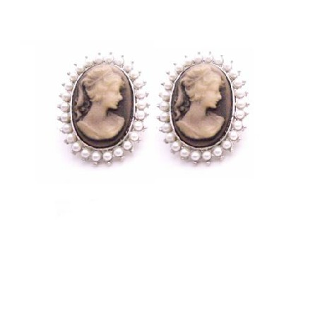 Dainty Delicate Very Traditional Cameo Earrings Decorated w/ Pearls