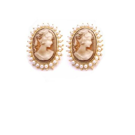 Gold Framed Cameo Portrait Earrings Surrounded w/ White Pearls