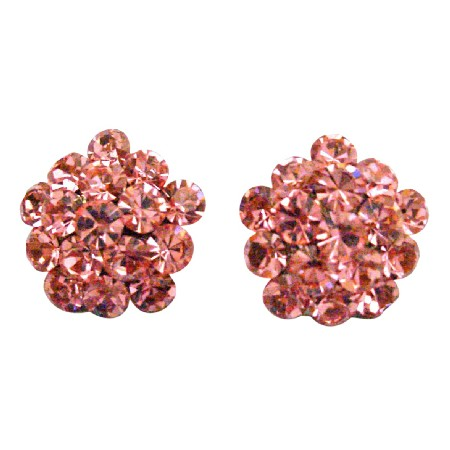 Flower Shaped Earrings Sparkling Pink Crystals Christmas Gift Earrings