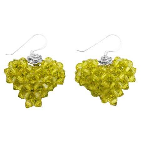Swarovski Crystals Olivine Green Handwoven 3D Puffy Heart Earrings
