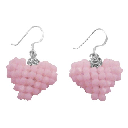 Rose Alabaster Baby Pink Candy Color Handmade Puffy Heart Earrings