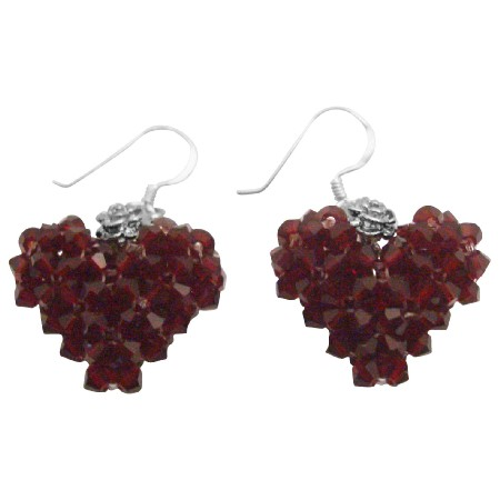 Gift To Your Love One Siam Crystal Puffy Heart Silver Hook Earrings