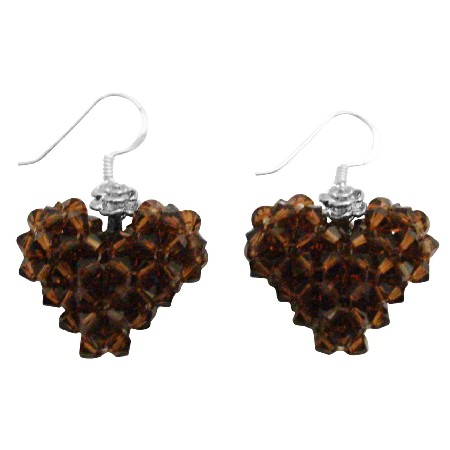 Love Swarovski Smoked Topaz Brown Crystals Fall Heart Earrings