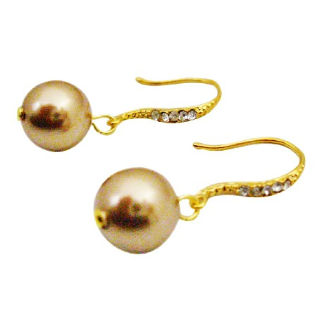 Swarovski Bronze Pearl Drop Dangling 22k Gold Hook Earrings