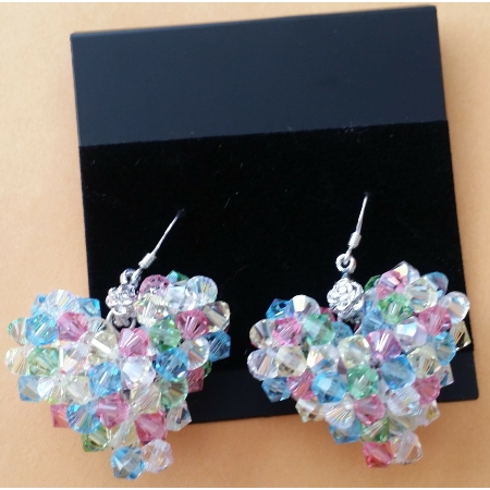 Sparking Swarovski Crystals Multicolored Heart Shape Earrings