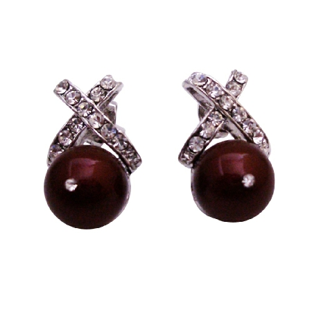 Designer Stud Bordeaux Pearl Earrings Cubic Zircon For Bridesmaid