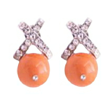 Eye Catching Bridesmaid Swarovski Coral Pearls Cubic Zircon Earrings